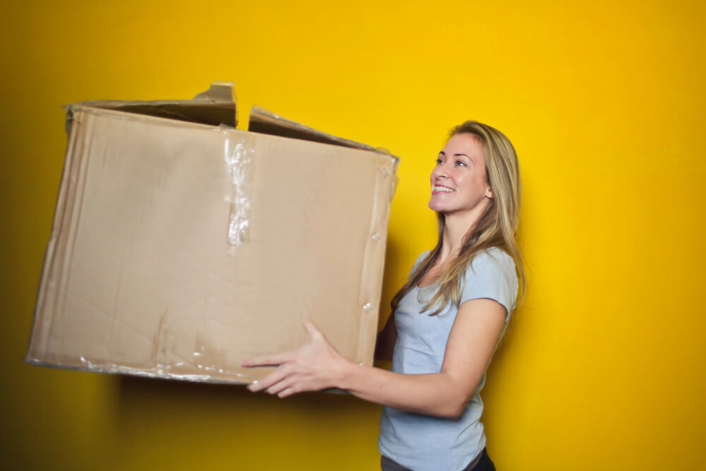 Photo showing a first time buyer packing